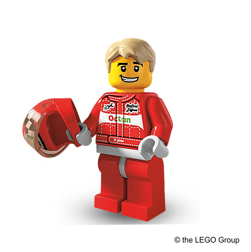 Lego-Minifigur Rennfahrer Serie 3