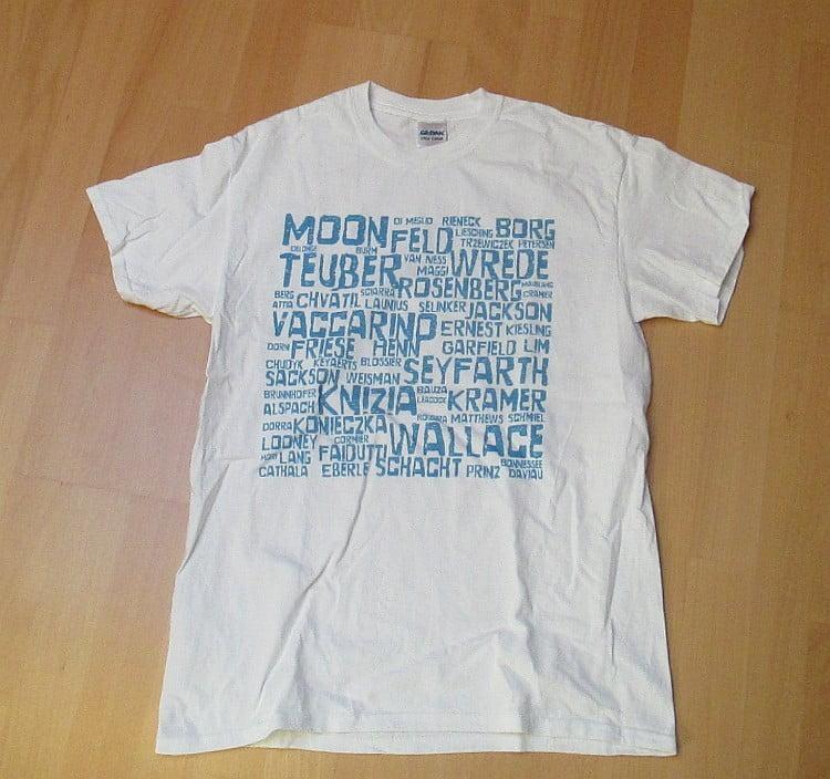 T-Shirt mit Spieleautoren von Geeky Goodies