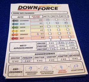 Downforce - Wertungsblatt